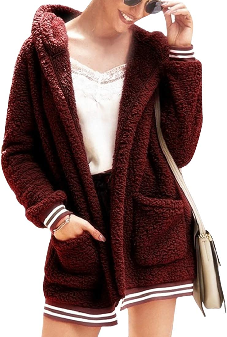 Fulision Women's Hooded Coats Cardigan Outwear Thick Windproof Jackets