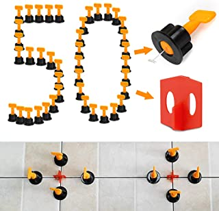 50 pcs Reusable Tile Leveler Spacers Plus 50 pcs Multi-functional Red Tile Spacers with 2 Special Wrenches