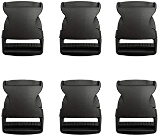 Beaulegan Plastic Buckles 1 1/2 Inch (Pack of 6)- Quick Side Release for Luggage Straps, Pet Collar, Backpack Repairing - One Adjustable End, Black