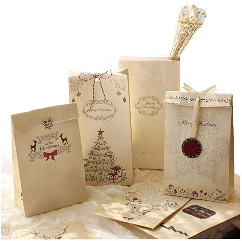 12PCS Set Merry Christmas Gift Bags Kraft Paper Wedding Candy Treat Bag For Party Favor Bread Cookies Food Packaging Bags