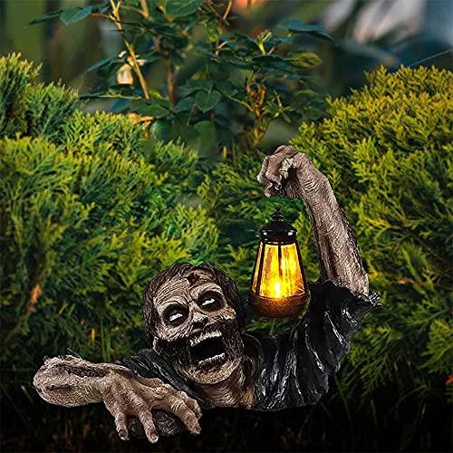Estatua de jardín zombie con DIRIGIÓ Linterna, asustadizo Zombie de Halloween que se arrastra fuera de la tumba impermeable a prueba de agua Adornos de resina para el jardín al aire libre Decoración d