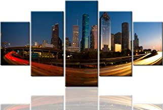 Hanging Big Pictures Houston Skyline Paintings Texas Wall Art Cityscape Pictures USA Modern Artwork 5 Piece Canvas Home Decor for Living Room Bedroom Framed Stretched Ready to Hang(60''Wx32''H)