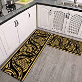 Juegos de alfombras de Cocina,Morisco Floral Frontera sin Costuras Ocre en,Antideslizantes Lavables de 2 Piezas Alfombra súper Absorbente