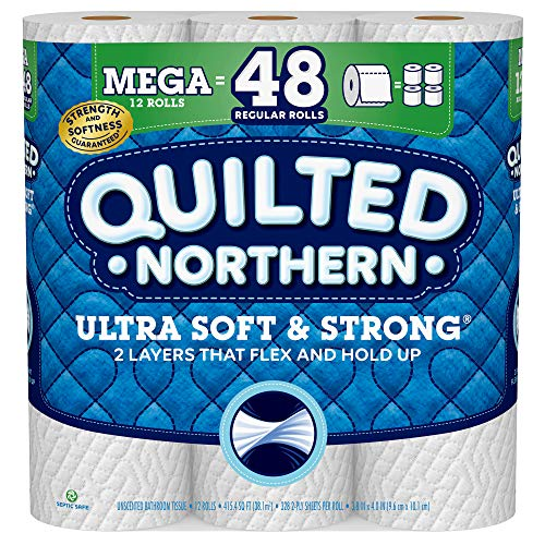 Quilted Northern Ultra Soft and Strong Toilet Paper, 12 Mega Rolls = 48 Regular Rolls, 328 2-Ply Sheets Per Roll