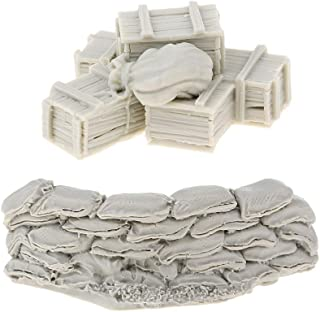 MagiDeal Unpainted 1/35 Scale Resin Soldier Model Scene Accessories Set Sandbags Wall Ammunition Boxes & Bags Full Set