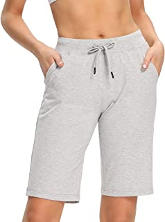 "Capol Women's Cotton Bermuda Shorts 10"" Workout Jogger Athletic Yoga Shorts Lounge Indoor Casual Pajama Jersey with Pockets"