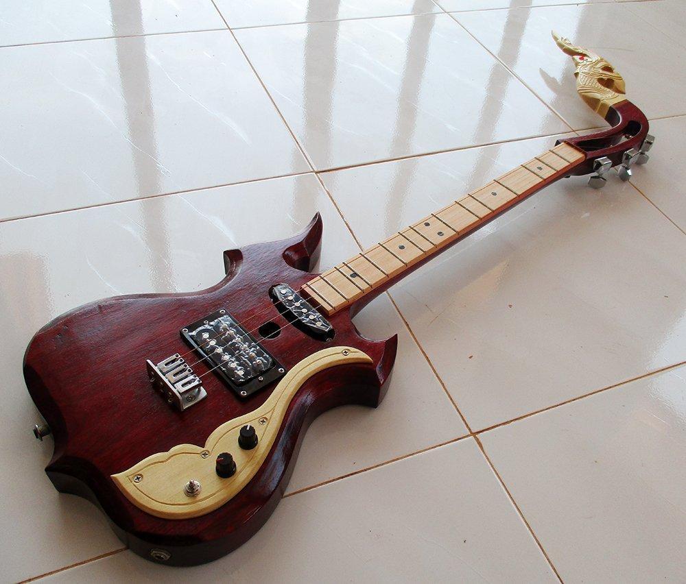 Isarn eléctrico Phin 3 cuerdas 3 Track, Thai Lao guitarra instrumento musical, música tradicional tailandés Pin 18: Amazon.es: Instrumentos musicales
