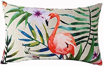 Hand-painted Tropical Flowers and Birds Foliage Plant Christmas Gift Cotton Linen Home Office Decorative Throw Waist Lumbar Pillow Case Cushion Cover Rectangle 12 X 20 Inches