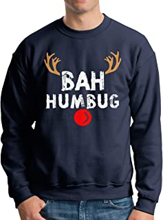Bah Humbug Christmas Printed Men's Long Sleeve Crewneck Black Sweatshirt