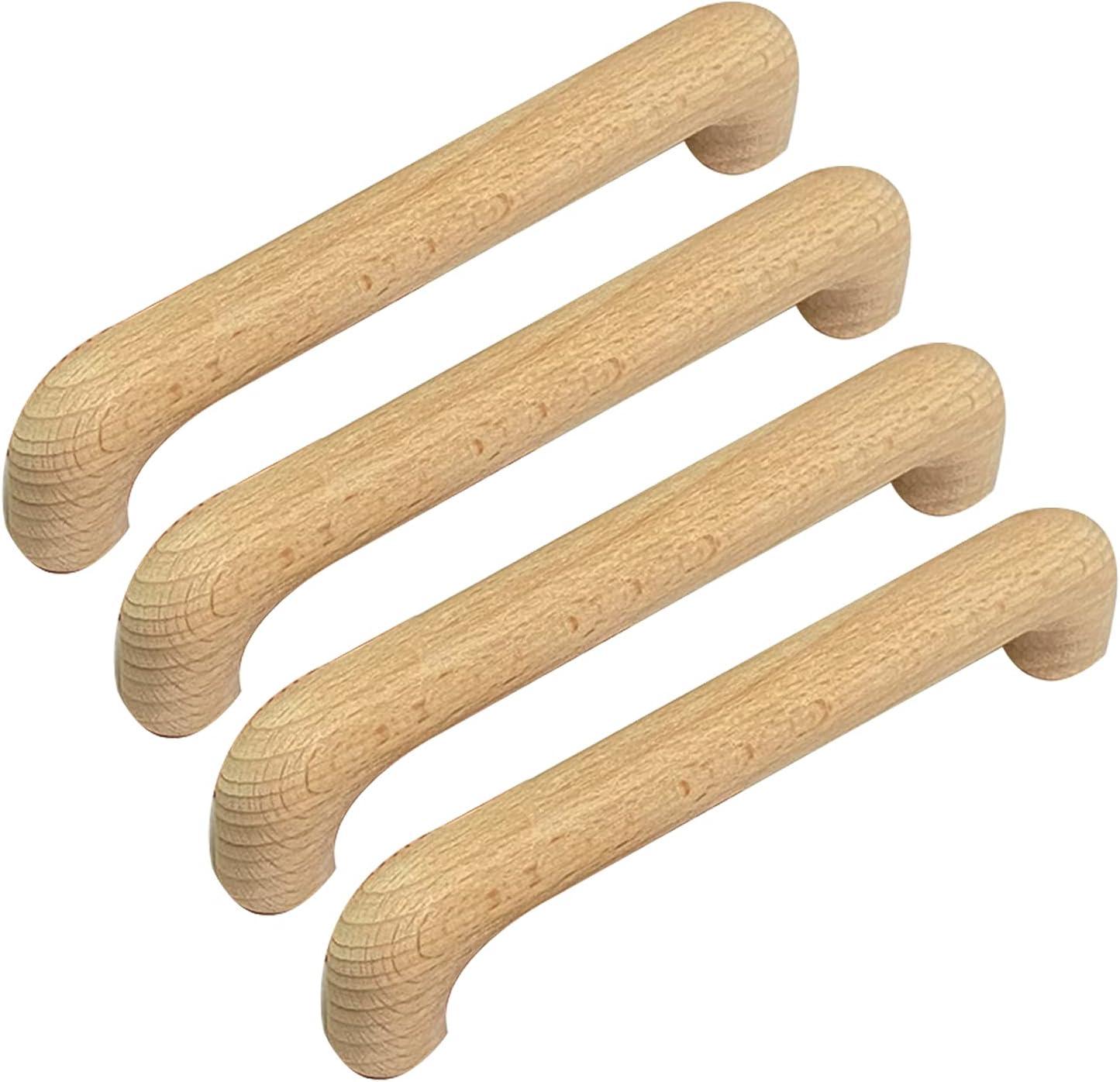 4 Piezas Manijas Arco en Forma de Mango iradores de arco de Madera maciza Haya Perilla Pomos para armario,cajón Asas de gabinete picaportes para Zapatero (Hole distance 128mm)