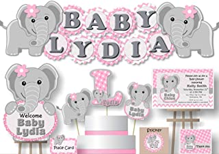 Personalized Pink Green Monkey Birthday Party or Baby Shower Garland Bunting Banner BCPCustom Handmade in USA