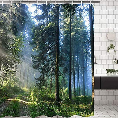 Ciujoy Shower Curtain Forest Scenic 180 x 180 cm 3D Digital Landscape Printed Waterproof Mould Proof Resistant Bathroom Washable Bath Curtain Polyester Fabric with 12 Hooks - Sunshine Forest