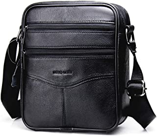 Men's Shoulder Bag, Popoti Handbag Crossbody Bag Leather Shopping School Backpack Messenger Carrying Bags Tote Wallet Small Pocktes 21cm (Black)