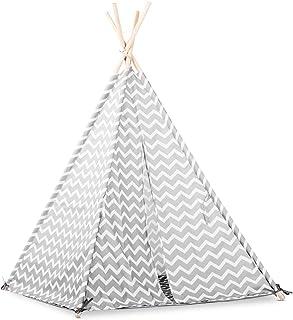 Lalaloom ZIGZAG TIPI – tipi tält barn nordisk design i grå-vit färg barntält av polyester barntält inuti utsidan naturträs...