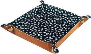 Boîte de rangement en cuir PU carré plateau pour les jeux de table de dés de jeux de clés, porte-monnaie, plateau de range...