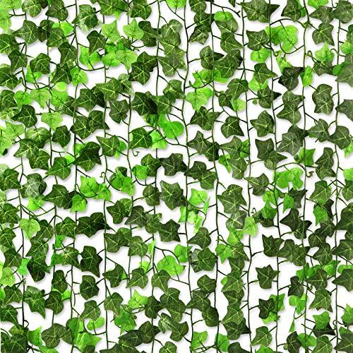 CQURE 12 Pack Artificial Ivy Garland Vines,84Ft Ivy Garland Fake vine UV Resistant Green Leaves Fake Plants Hanging Vine Plant for Wedding Party Garden Wall Decoration