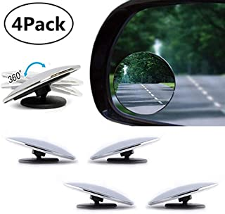 PERTTY 4 Pieces Mini Blind Spot Mirror Cover 360 Rotating Safety Wide Angle Ampper Blind Spot Mirror 2