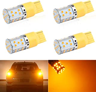 4Pcs High Power Amber 7440 35SMD W21W WY21W T20 LED Turn Signal Light Bulbs No Resistor, No Hyper Flash For Car Front or Rear Turn Signal Lights