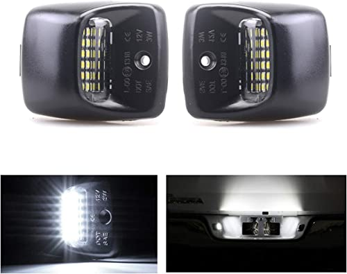 lowest Mallofusa 18SMD LED License Plate Light sale Tag Lamp Assembly Replacement for 2005-2015 Toyota Tacoma & 2000-2013 online Tundra Pickup Truck Black(One Pair) (White Light) sale