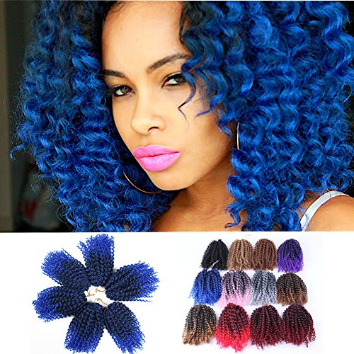 3pcs/Pack 10'' Afro Kinky Twist Hair Crochet Braids Ombre Blue Braiding Hair Synthetic Marlybob Curly Crochet Hair Pieces (T1B/BLUE)