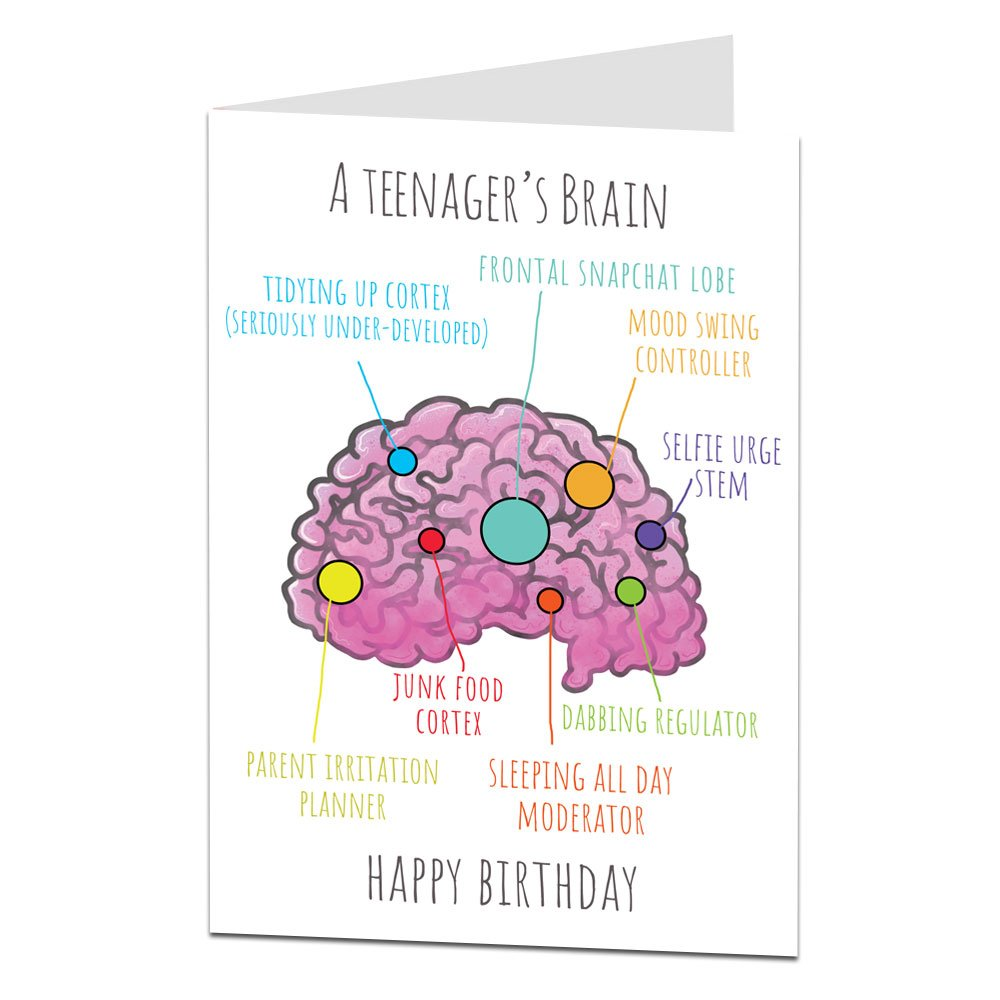 Amazon Com Funny Birthday Card Teenagers Brain Perfect For 14th 15th 16th 17th Son Daughter Niece Nephew Office Products