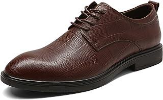 DADIJIER Oxfords Zapatos de Vestir para Hombres Plaid Plaid Toe Redondo de 4 Ojos Encaje de 4 Ojos Pull Bloque Espeso Tacó...