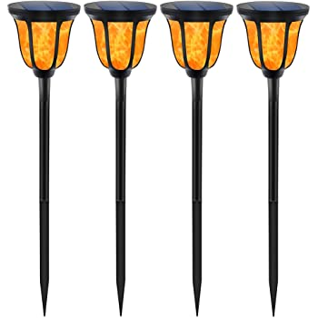 TomCare Solar Lights Solar Torches Lights Waterproof Dancing Flame Outdoor Lighting Landscape Decoration Lighting 96 LED Solar Powered Path Lights Dusk to Dawn Auto On/Off for Garden Patio Yard(4)
