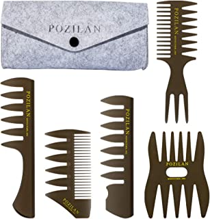 5 PCS Hair Comb Styling Set Barber Hairstylist Accessories - Professional Shaping & Teasing Wet Combs Tools with Packaging Bag, Anti Static Hair Brush for Men Boys
