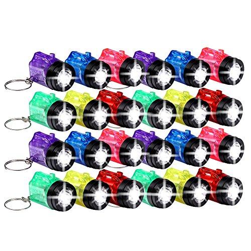 Schramm® 24er Pack Schlüsselanhänger Taschenlampe mit Griff Mini LED-Taschenlampe Lampe Taschenlampen Lampen Kinder Kindertaschenlampen