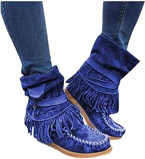 SANFASHION Bottes Chukka Talons Haut Femmes Boots Bout Rond Martin Bottes Cuir Synth/étique Anti-D/érapant Chaussures Casual Martin