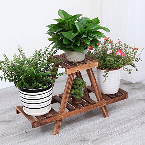 Étagères de porche Porte-pot à fleurs, 2 étagères à fleurs échelonnées avec roue Balcon Terrasse étagère en bois Rectangle Étagère multifonction Support de plante de boîte à fleurs ( Couleur : Marron , taille : 74*25*40CM )