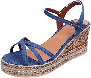 Women Casual Sandals,Sharemen Cross Narrow Strap Ankle Buckle High-Heel Wedge Shoes Shallow Mouth Rome Sandals