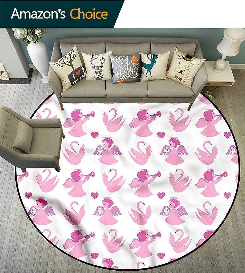 RUGSMAT Angel Modern Machine Washable Round Bath Mat,Swans Love Honeymoon Non-Slip No-Shedding Kitchen Soft Floor Mat Round-71