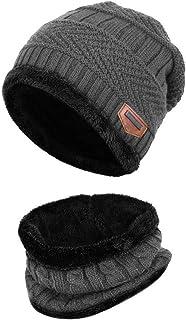 طقم قبعة صغيرة شتوية من قطعتين من آيدوريك قبعة منسوجة سميكة قبعة جمجمة للرجال والنساء (للبالغين، كحلي)