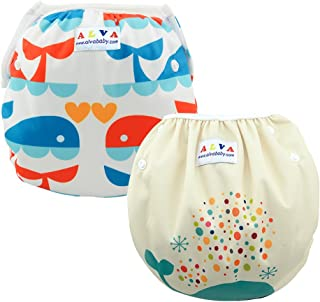 ALVABABY Baby Swim Diapers 2pcs Reuseable & Adjustable for Swimming Lesson & Baby Shower Gifts (Happy Fishes, one Size (0-2 Years Old))