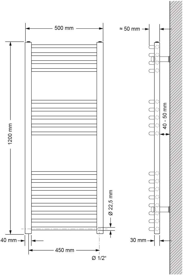 Varilla Calefactora Cromada 300W Radiador Calefactor Secatoallas Secador de Toallas ECD Germany Radiador de ba/ño El/éctrico 400 x 800 mm Antracita Curvo con Conexi/ón Lateral incl