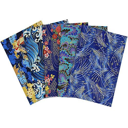 aufodara 5 piezas Tela algodón Telas Japonés Bronceadora Estampada Patchwork 50 x 50cm Cuadrada Algodón Para Coser DIY Telas Decorativas Costura Retales Tela Quilting Scrapbooking (Azul)