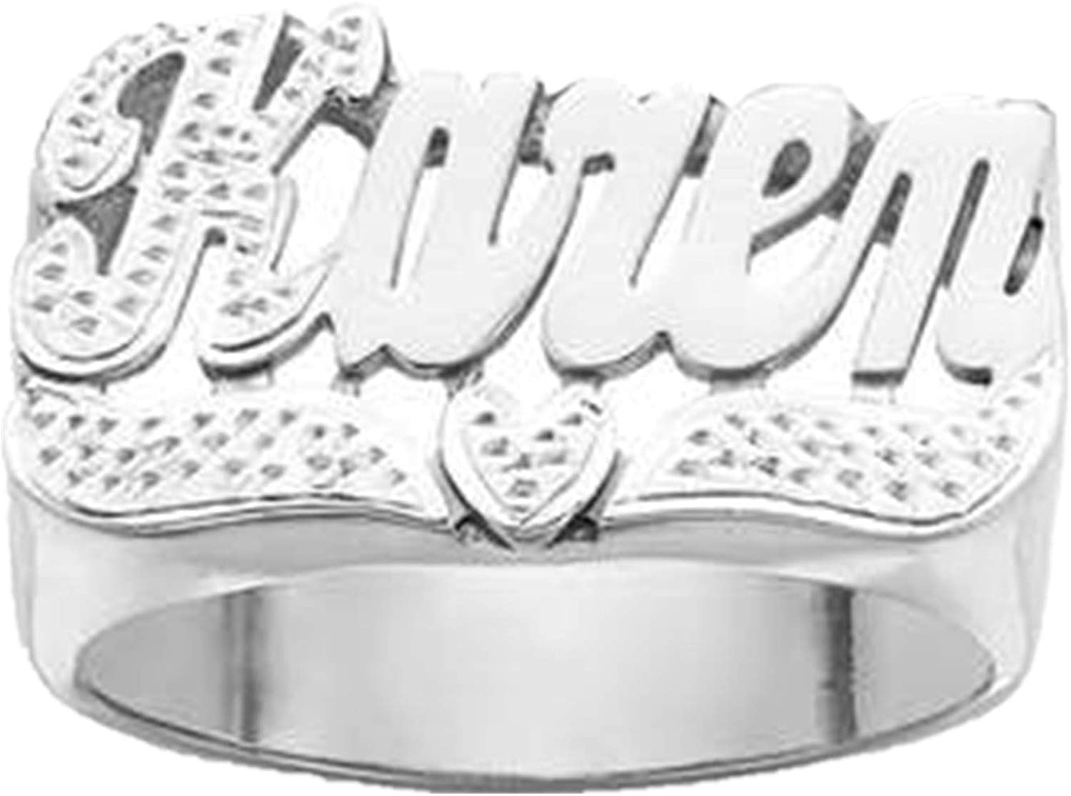 Amabery 925 Sterling Silver Can OFFicial site Be Custom Engraved Rin Max 53% OFF Name Ring