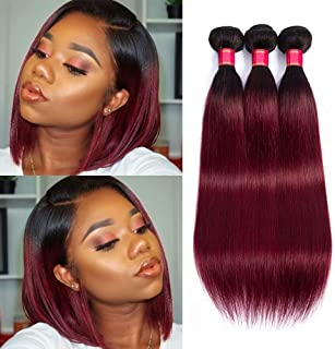 Peruvian Human Hair Ponytail Ombre Braiding Hair Extesnions 1b/99J Silky Straight Bundles Unprocessed Real Human hair(,10 12 14,300g)