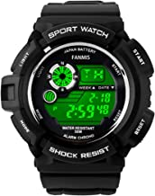 Fanmis S-Shock Multi Function Digital LED Quartz Watch Water Resistant Sport Watches Black