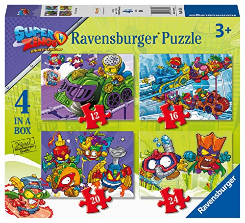Ravensburger Super Zings para niños 3+ años, 4 Puzzle en una Caja, 12-16-20-24 Piezas (03053)