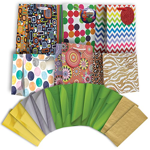 Jillson Roberts Medium All-Occasion Gift Bags in Assorted Designs with Tissue, Great Graphics, 6-Count (ETMT008)