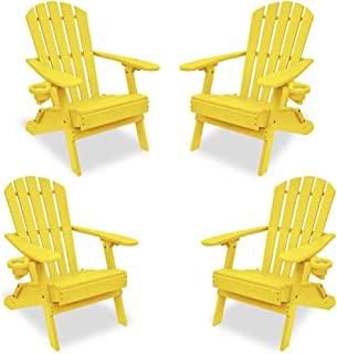 ECCB Outdoor Outer Banks 4-Piece Value Line Adirondack Chair Set (Yellow)