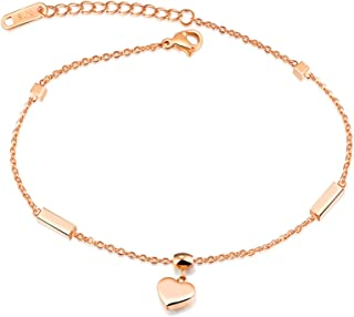 Anklet for Womens Stainless Steel Heart Foot Jewelry Anklet Bracelet Rose Gold 21.5CM