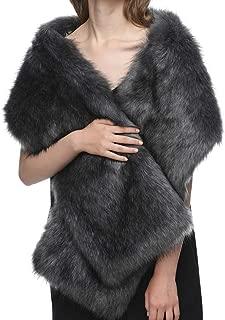Dikoaina White Faux Fur Wrap Shawl Shrug Bolero Cape for Bridal Winter Weddings Gift