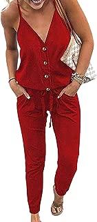 Women's Sexy Deep V Neck Spaghetti Strap Drawstring Waist Jumpsuit Romper with Pockets