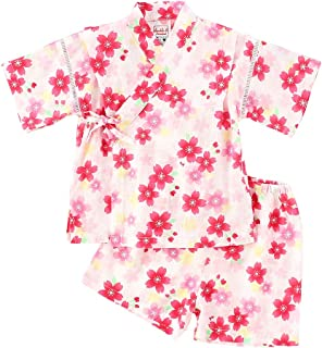 キッズパジャマ 綿の郷 女の子用リップル生地甚平 じんべい 子供 夏甚平(じんべい) 涼やかなメンズ綿麻甚平 女の子 浴衣 和風 着物 夏祭り
