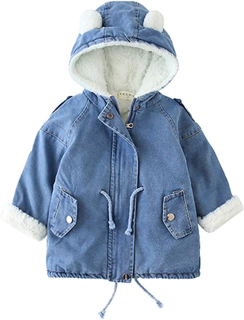 Rare Recommendation Kids Girls Boys Fleece Denim Jacket Wool Toddler Faux Hooded Out