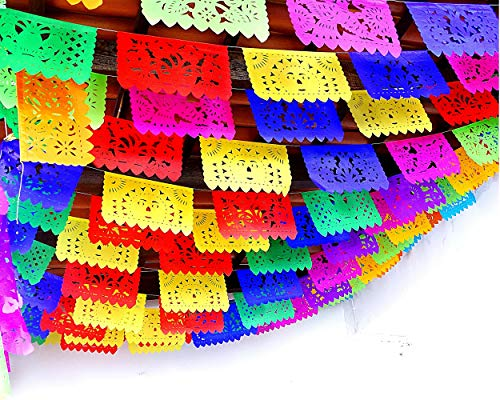 5 Pk Fiesta Party Decorations, Papel Picado Banner 60 ft total Cinco de Mayo tissue PAPER Flags garland, Mexican theme party supplies for Weddings Birthdays, Taco Mexican Flags Paper Picado WS100