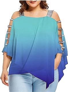 Women Plus Size Blouse Summer Cold Shoulder Tunic T Shirt...